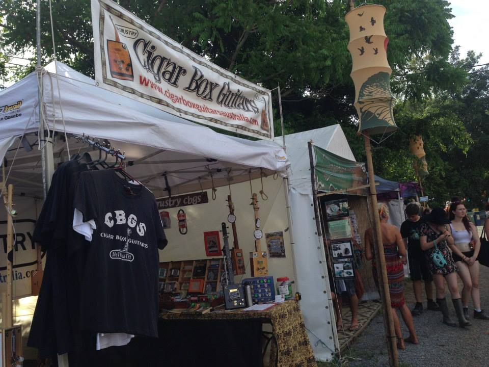 Cigar Box Guitar Australia stall at Woodford Folk Festival